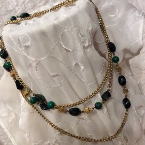 "Vintage Necklace, Beaded chain, 52"" long."